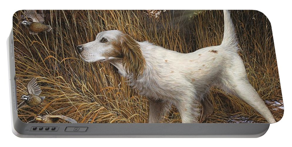English Setter Portable Battery Charger featuring the painting English Flush by Anthony J Padgett