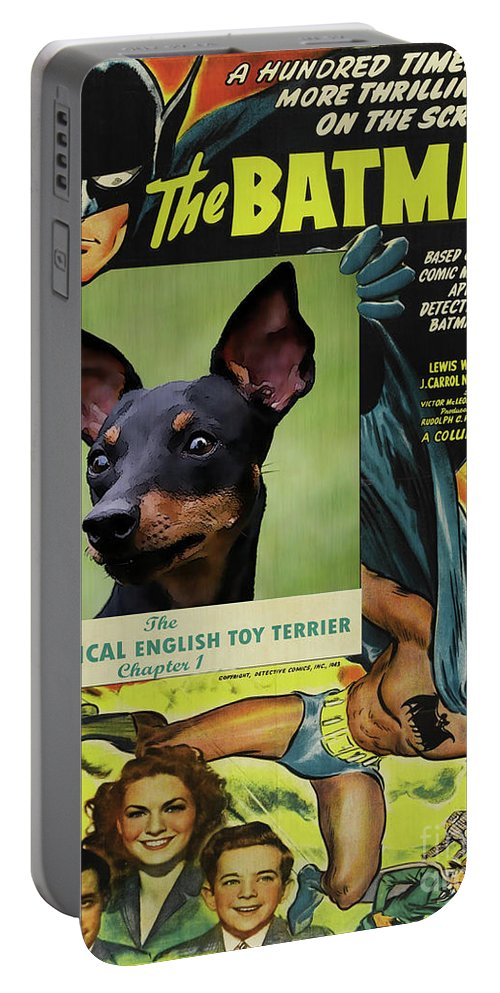 English Toy Terrier Portable Battery Charger featuring the painting English Toy Terrier Art Canvas Print - Batman Movie Poster by Sandra Sij