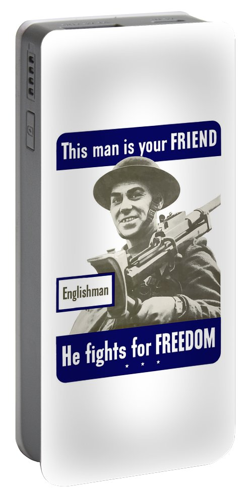 English Army Portable Battery Charger featuring the painting Englishman - This Man Is Your Friend by War Is Hell Store