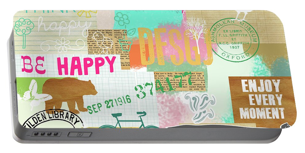 Enjoy Every Moment Portable Battery Charger featuring the mixed media Enjoy Every Moment Collage by Claudia Schoen