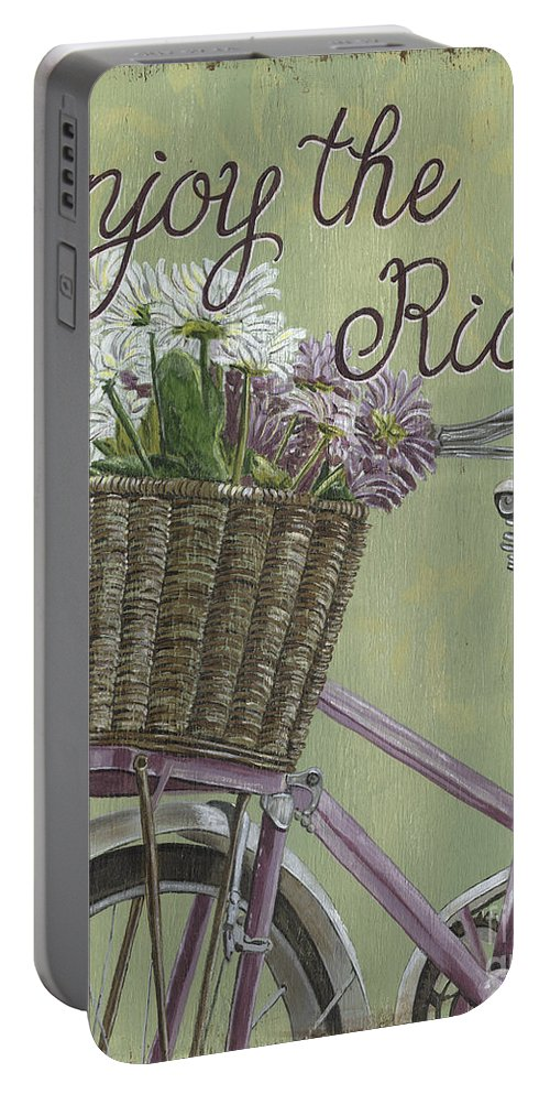 Bike Portable Battery Charger featuring the painting Enjoy The Ride by Debbie DeWitt