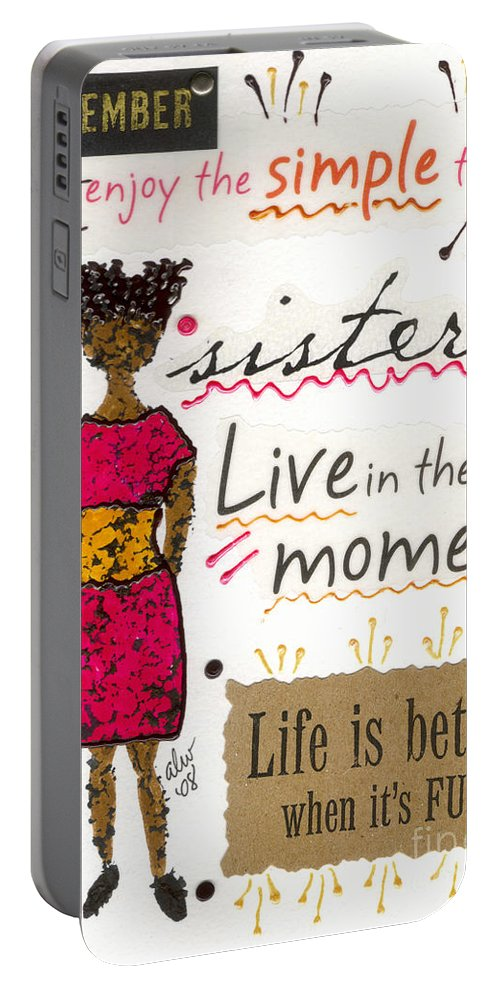 Gretting Cards Portable Battery Charger featuring the mixed media Enjoy The Simple Things by Angela L Walker