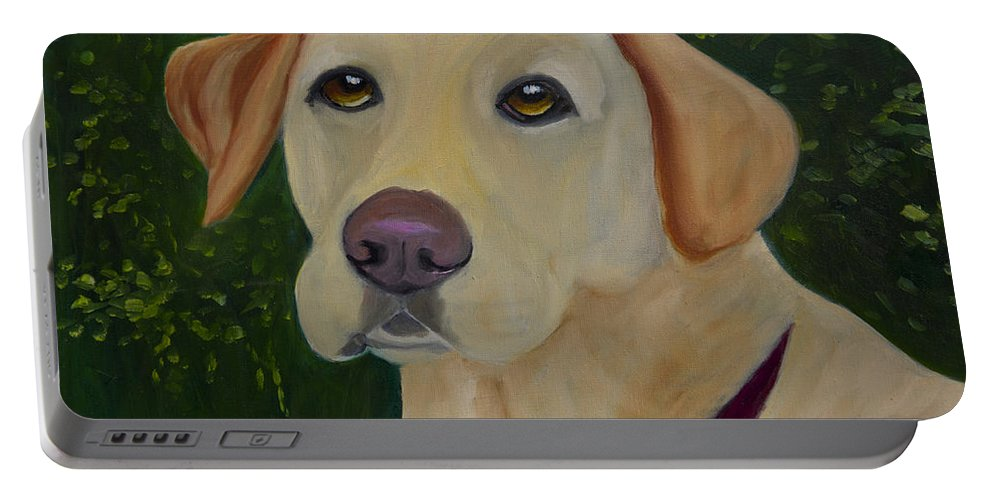 Yellow Lab Portable Battery Charger featuring the painting Enjoying The Garden by Roger Wedegis