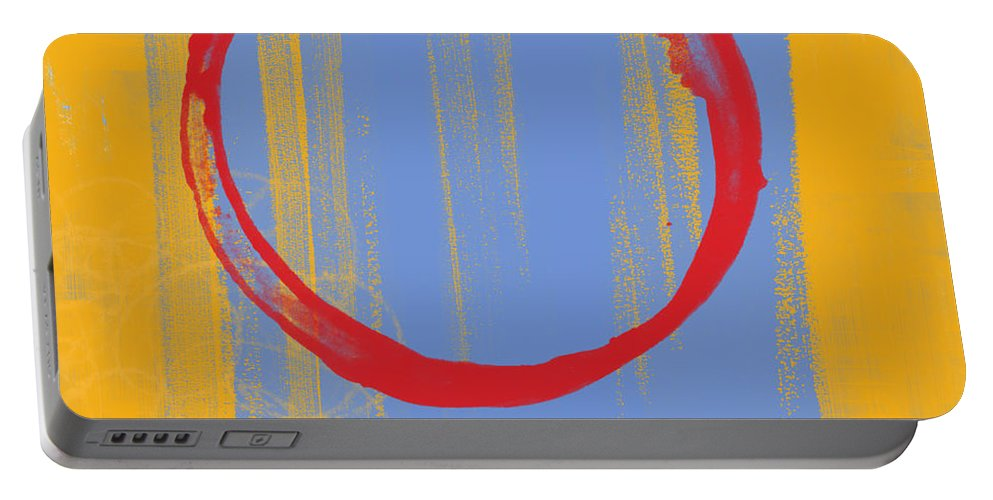 Red Portable Battery Charger featuring the painting Enso by Julie Niemela