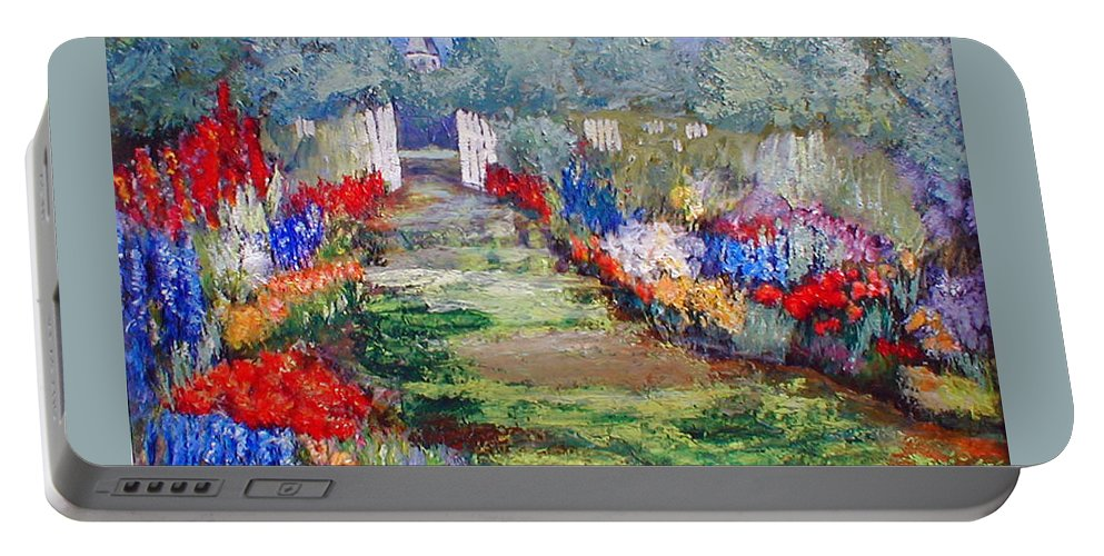 Landscape Portable Battery Charger featuring the painting Enter His Gates by Gail Kirtz
