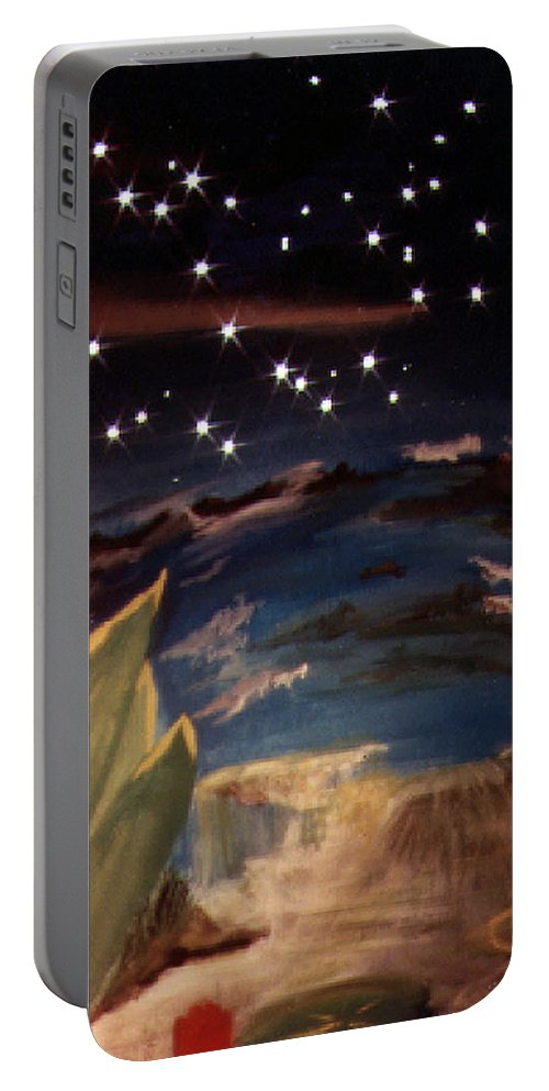 Surreal Portable Battery Charger featuring the painting Enter My Dream by Steve Karol
