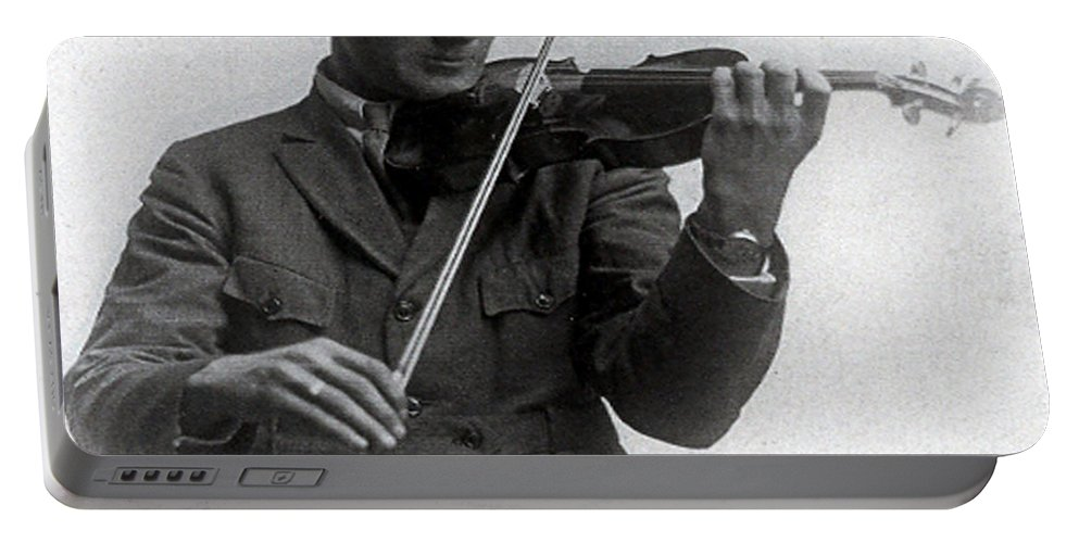 Old Photo Black And White Classic Saskatchewan Pioneers History Fiddle Violin Portable Battery Charger featuring the photograph Entertainer by Andrea Lawrence