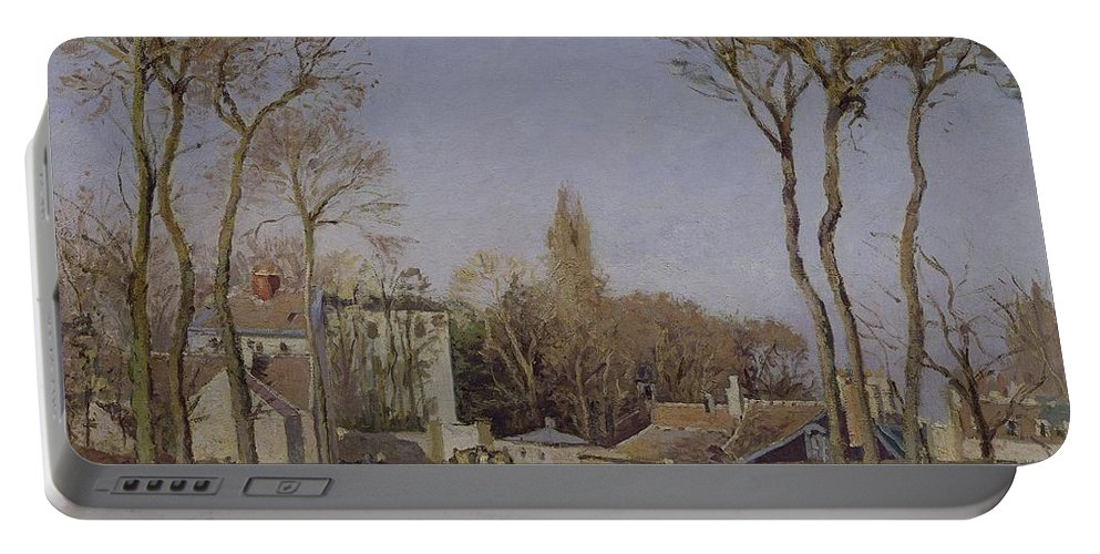 Entrance Portable Battery Charger featuring the painting Entrance To The Village Of Voisins by Camille Pissarro