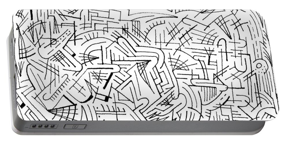 Mazes Portable Battery Charger featuring the drawing Envisage by Steven Natanson