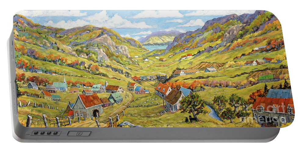 Charlevoix Landscape Scene Portable Battery Charger featuring the painting Epic Charlevoix Created By Richard Pranke by Richard T Pranke