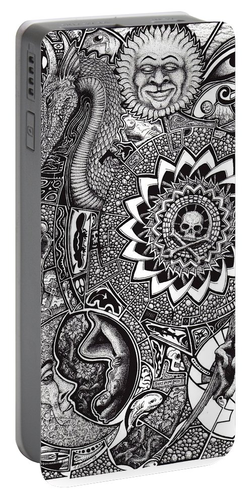 Black And White Portable Battery Charger featuring the drawing Epiphany by Tobey Anderson