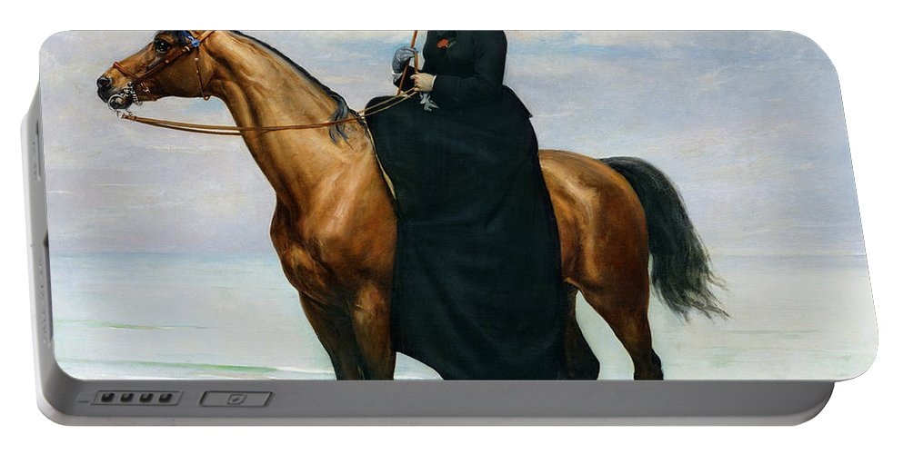Equestrian Portable Battery Charger featuring the painting Equestrian Portrait Of Mademoiselle Croizette by Charles Emile Auguste Carolus Duran