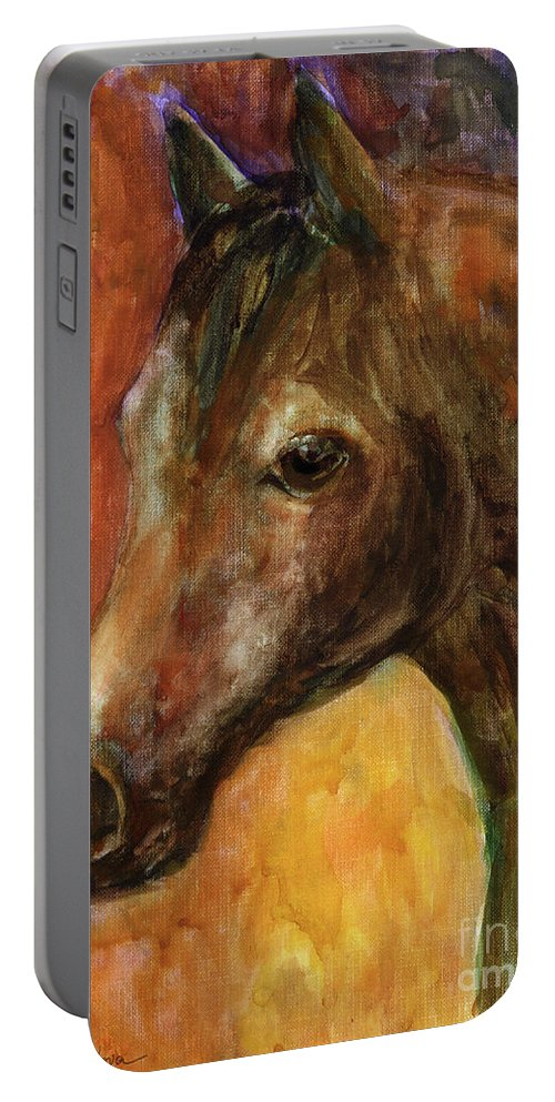 Equine Painting Portable Battery Charger featuring the painting Equine Horse Painting by Svetlana Novikova