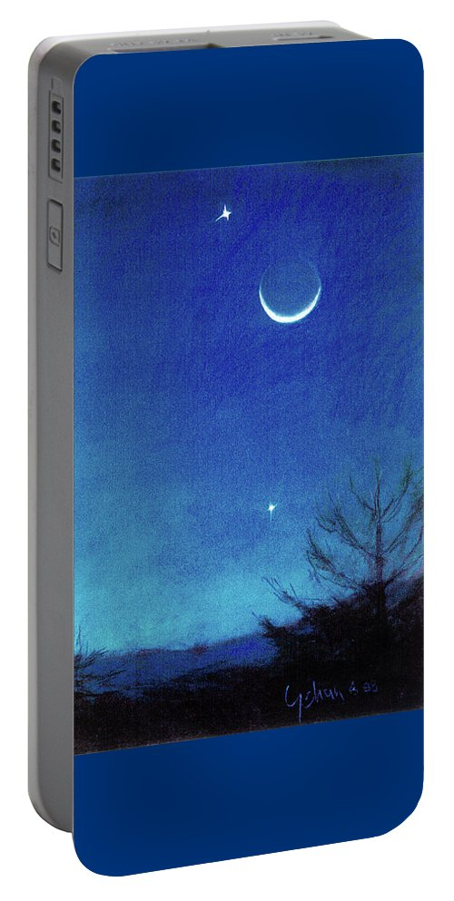 Equinox Waning Moon Crescent And Planets Portable Battery Charger featuring the painting Equinox Moon And Planets #2 by Maryanna Bock