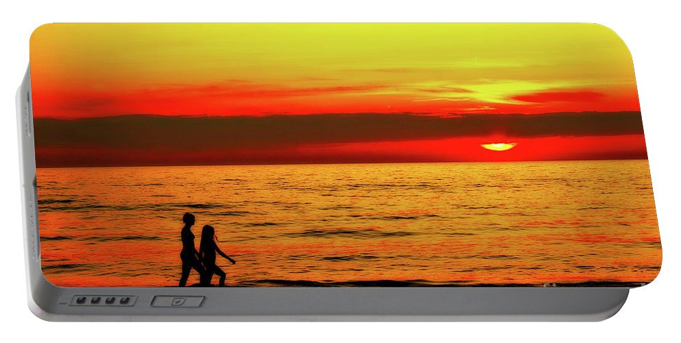 Presque Isle Portable Battery Charger featuring the photograph Erie Beach Sunset by Randy Steele