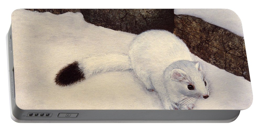 Wildlife Portable Battery Charger featuring the painting Ermine In Winter by Frank Wilson