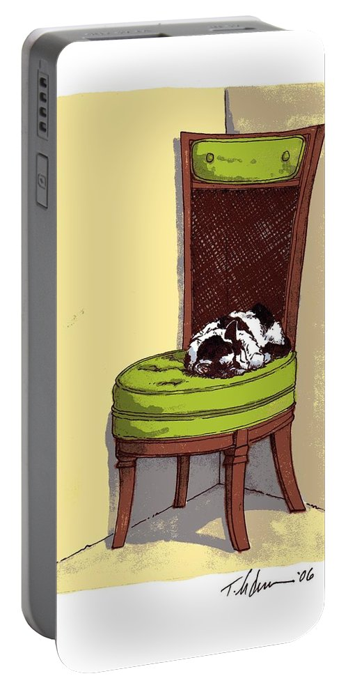 Cat Portable Battery Charger featuring the drawing Ernie And Green Chair by Tobey Anderson