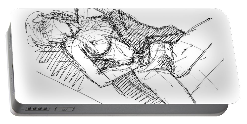 Erotic Renderings Portable Battery Charger featuring the drawing Erotic Art Drawings 7 by Gordon Punt