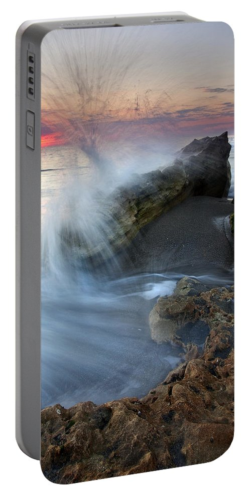 Blowing Rocks Portable Battery Charger featuring the photograph Eruption At Dawn by Mike Dawson