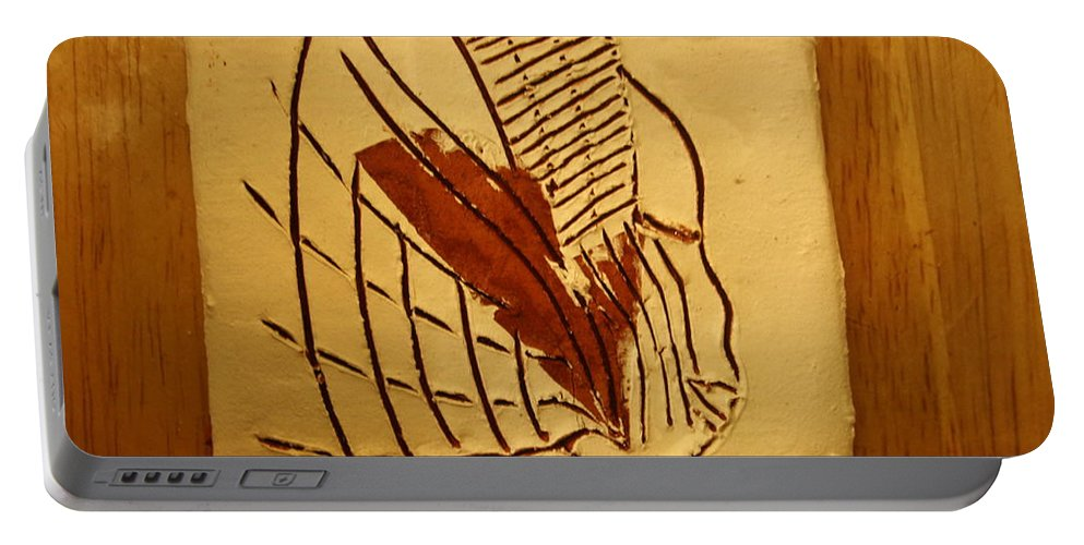 Jesus Portable Battery Charger featuring the ceramic art Esita - Tile by Gloria Ssali