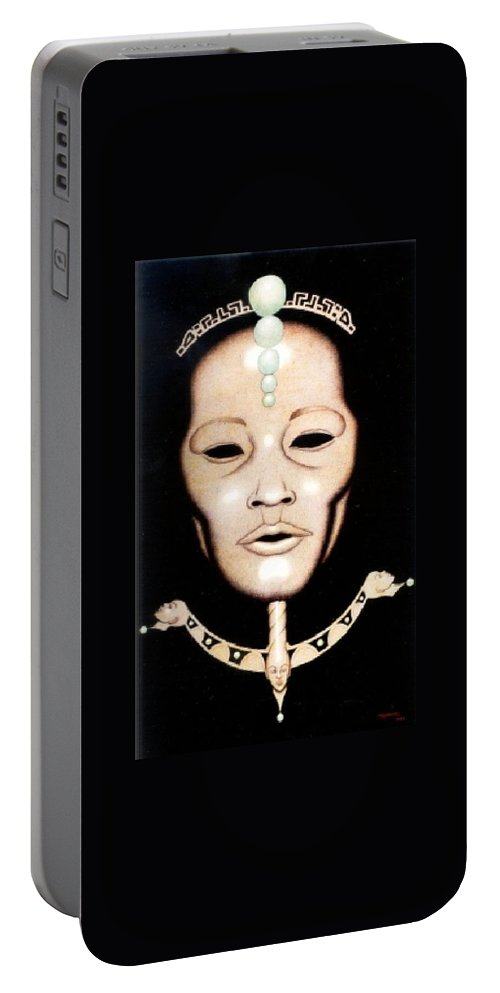 Mask Portable Battery Charger featuring the drawing Esoteric Masque by Jay Thomas II
