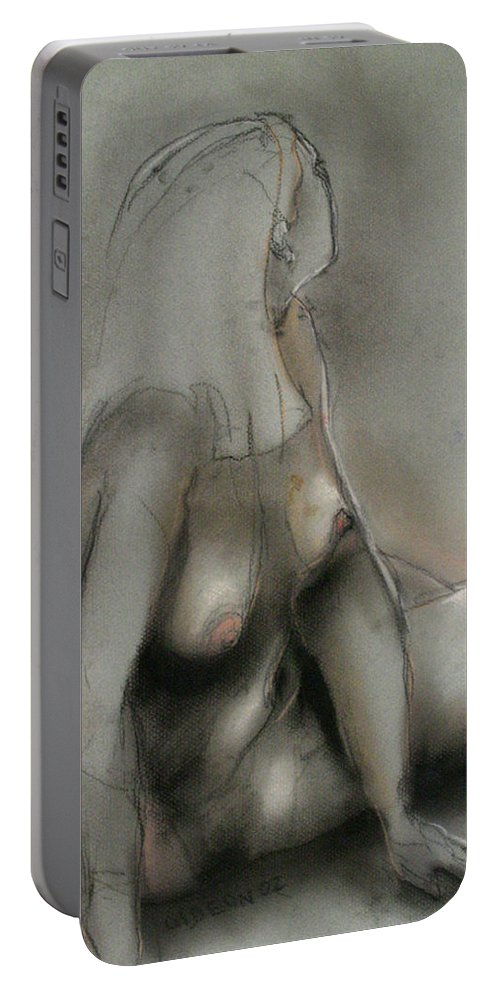 Drawing Portable Battery Charger featuring the drawing Essev Lady by Gideon Cohn