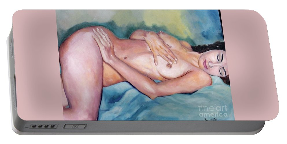 Woman Portable Battery Charger featuring the painting Estudo by Fernanda Cruz