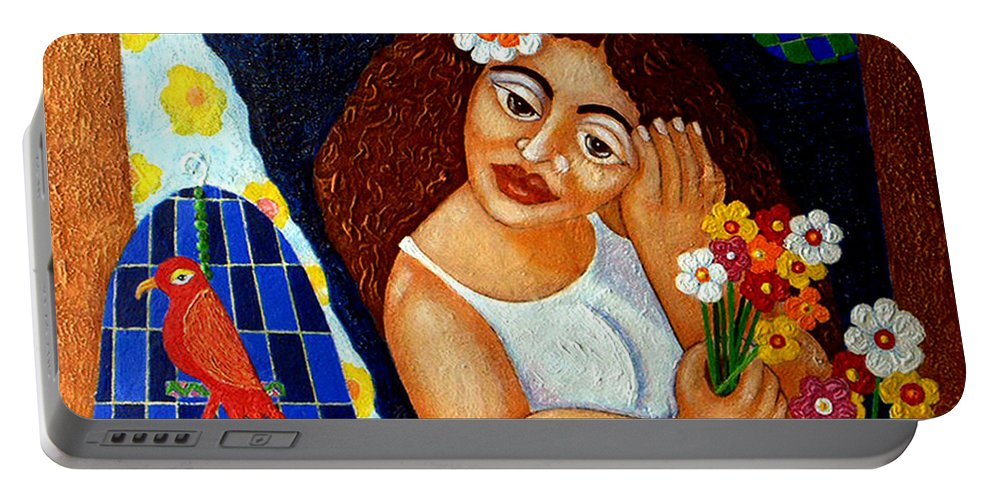 Eve Portable Battery Charger featuring the painting Eternal Eve - II by Madalena Lobao-Tello