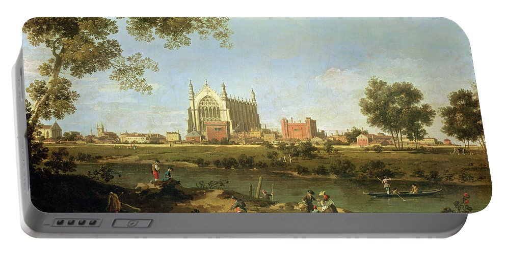 Eton Portable Battery Charger featuring the painting Eton College by Canaletto