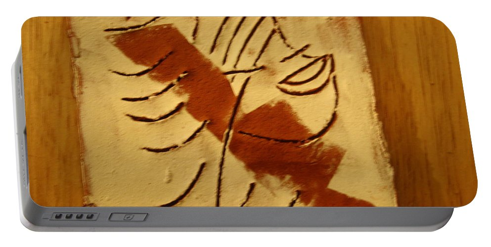 Jesus Portable Battery Charger featuring the ceramic art Etta - Tile by Gloria Ssali
