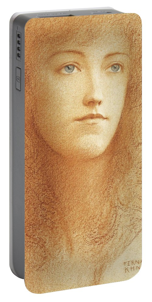 Fernand Khnopff Portable Battery Charger featuring the drawing Etude Anglaise by Fernand Khnopff