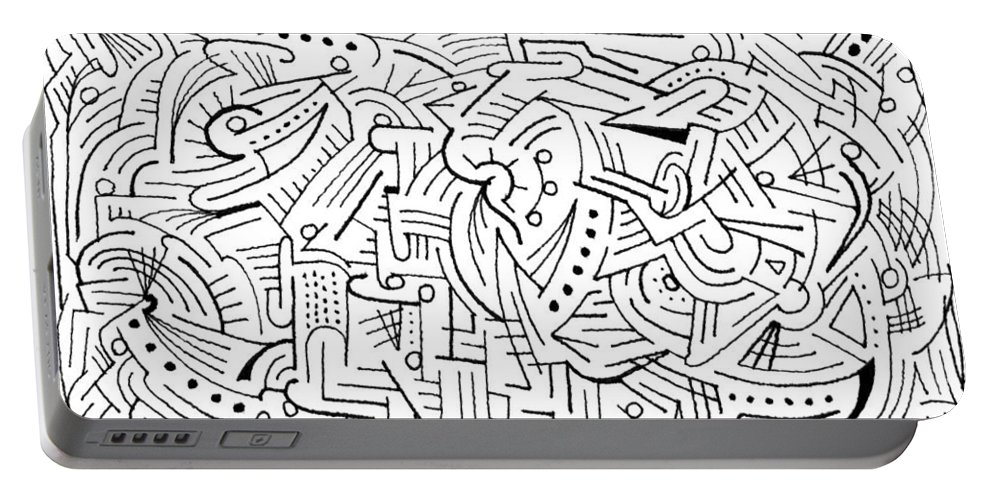 Mazes Portable Battery Charger featuring the drawing Euphonious by Steven Natanson