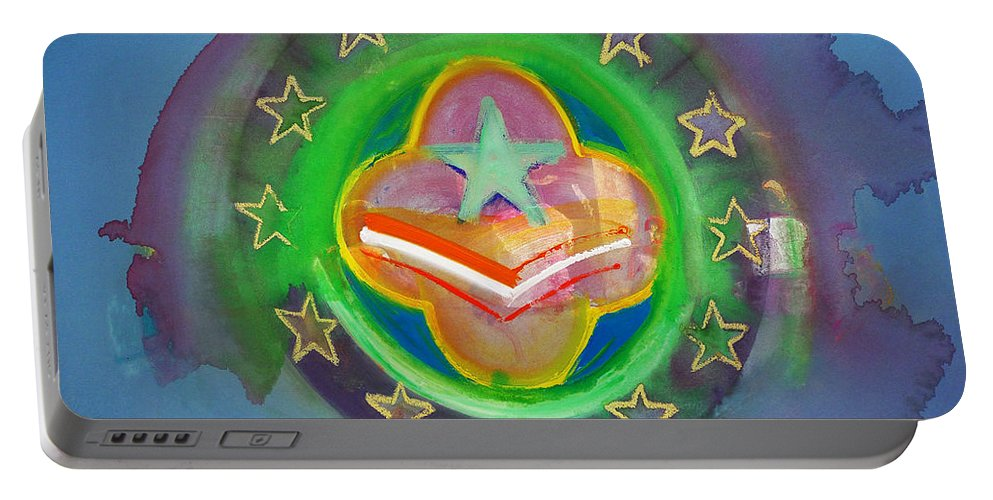 Symbol Portable Battery Charger featuring the painting Euro Star And Stripes by Charles Stuart