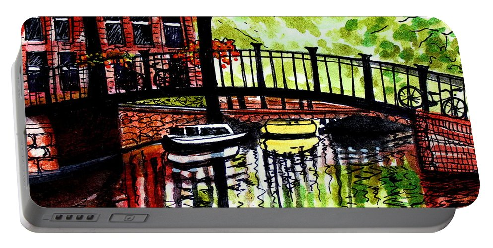 Landscape Portable Battery Charger featuring the painting European Travels by Elizabeth Robinette Tyndall