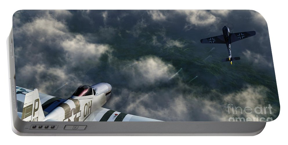Warbirds Portable Battery Charger featuring the digital art Evade by Richard Rizzo