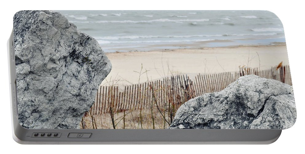 Evanston Portable Battery Charger featuring the photograph Evanston Shoreline by Kyle Hanson
