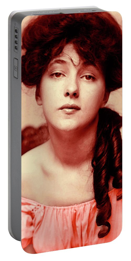 Girl Portable Battery Charger featuring the mixed media Evelyn On Aquarell by Steve K