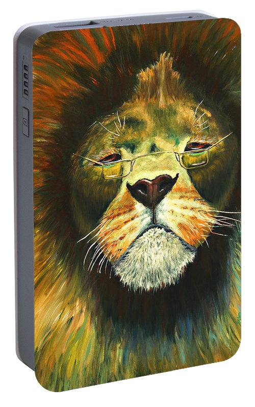 Lion Portable Battery Charger featuring the painting Even Lions Get Old by Peter Bonk