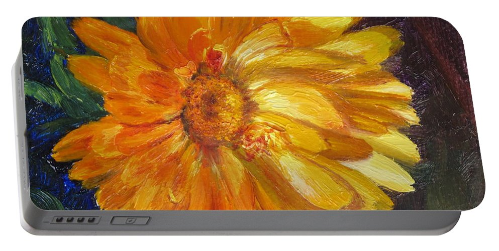 Flower Painting Portable Battery Charger featuring the painting Even The Flowers In Autumn Are Golden by Lea Novak