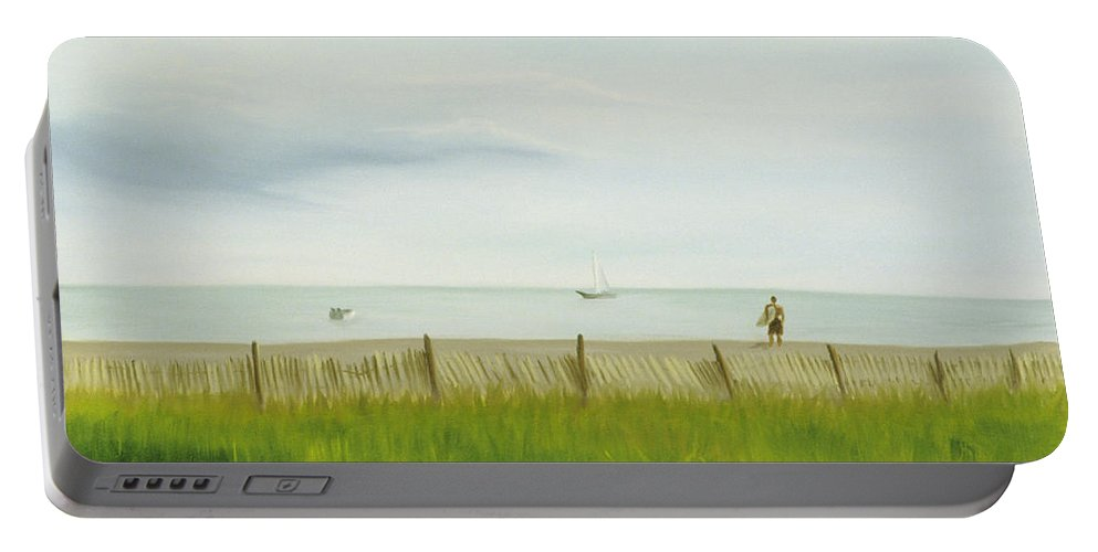 Seascape Portable Battery Charger featuring the painting Evening At Cape May by Lea Novak