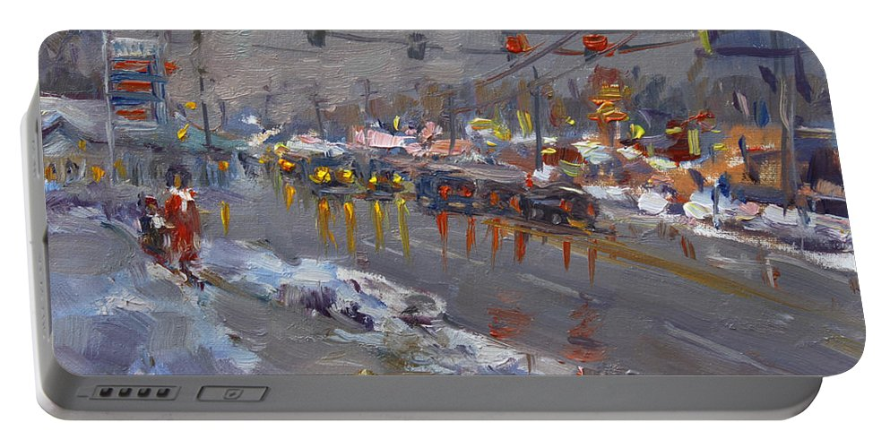 Evening Portable Battery Charger featuring the painting Evening At Niagara Falls Blvd by Ylli Haruni