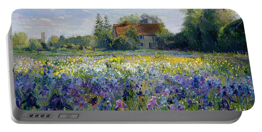 Landscape;market Gardening; Flowers; Horticulture;cottage; Summer; Rural; Irises; Landscapes Portable Battery Charger featuring the painting Evening at the Iris Field by Timothy Easton