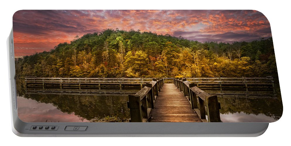 Appalachia Portable Battery Charger featuring the photograph Evening At The Lake by Debra and Dave Vanderlaan
