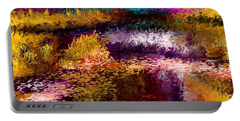 Abstract Portable Battery Charger featuring the digital art Evening At The Pond by David Lane