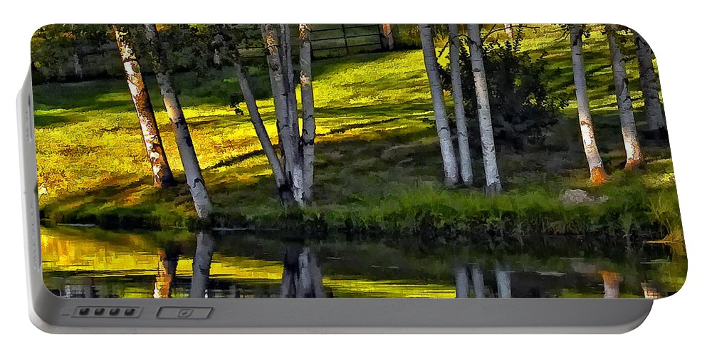 Evening Portable Battery Charger featuring the photograph Evening Birches by Steve Harrington