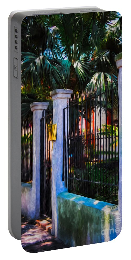 Plants Portable Battery Charger featuring the photograph Evening Fence And Gate - Nola by Kathleen K Parker