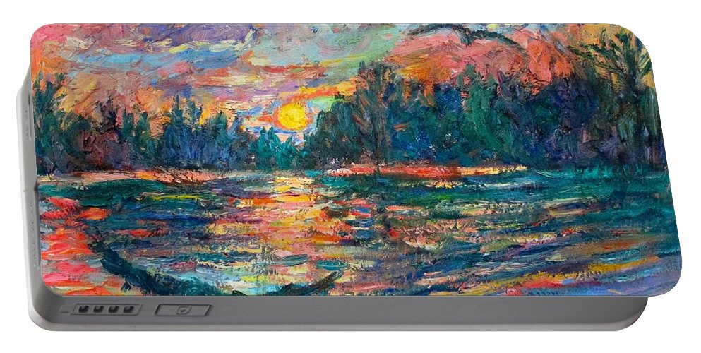 Landscape Portable Battery Charger featuring the painting Evening Flight by Kendall Kessler