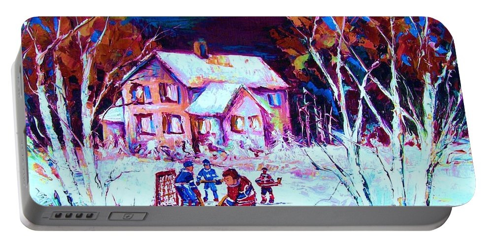 Hockey Game In The Country Portable Battery Charger featuring the painting Evening Game At The Chalet by Carole Spandau