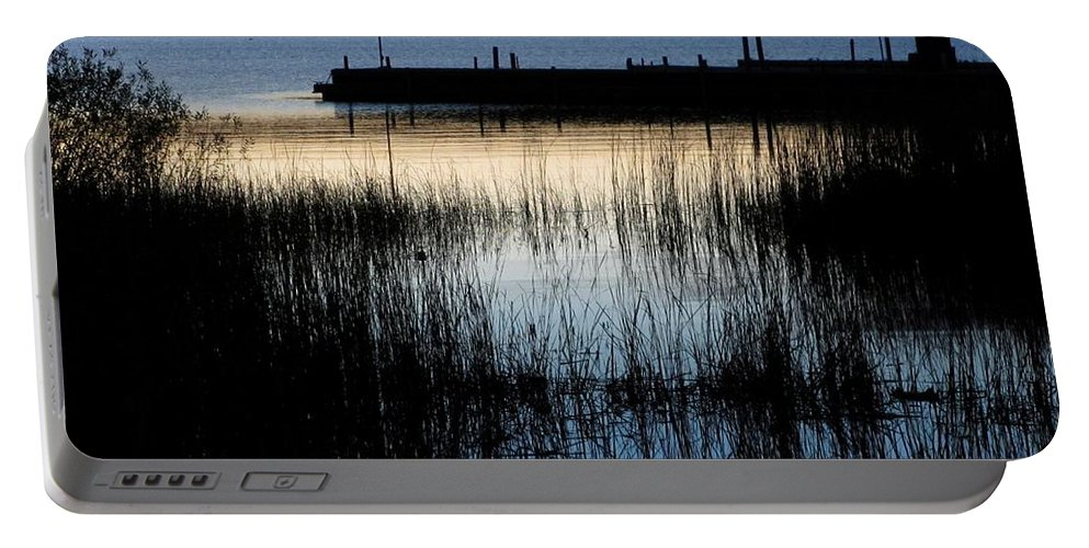 Lake Portable Battery Charger featuring the photograph Evening Glow by Mary Wolf