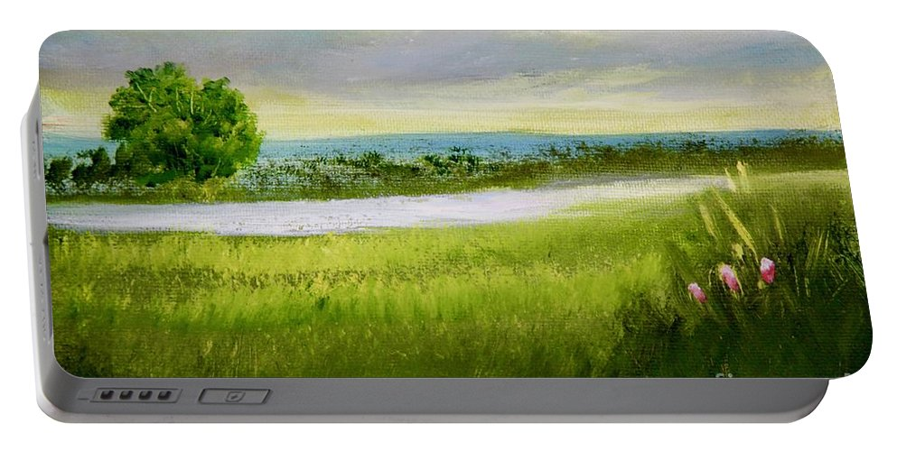 Alicia Maury Painting Portable Battery Charger featuring the painting Evening In Calm by Alicia Maury